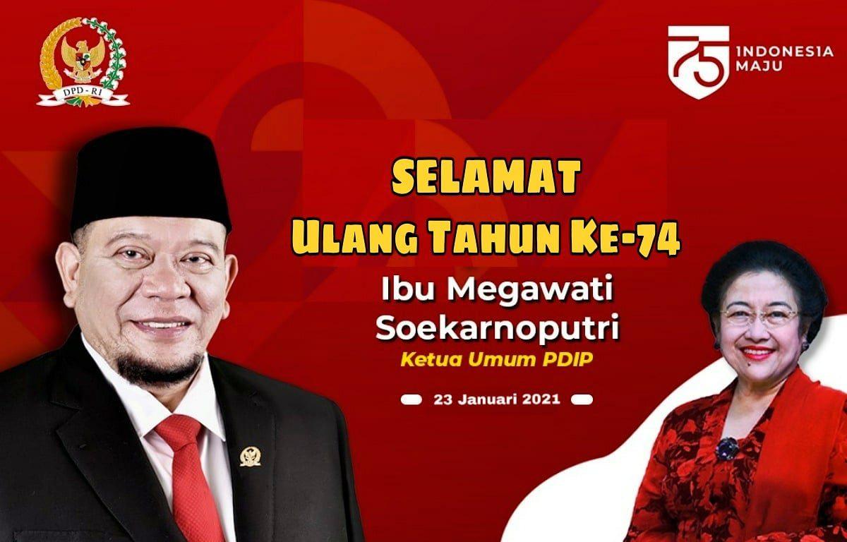 DPD RI mengucapkan selamat ulang tahun keada Megawati Soekarnoputri. [Dok. DPD RI]