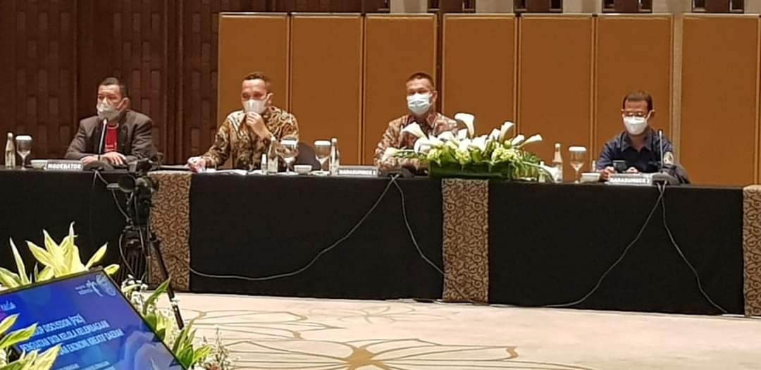 Walikota Pariaman Genius Umar saat menjadi narasumber di acara Focus Group Discussion (FGD) Penguatan Tata Kelola Kelembagaan Pariwisata dan Ekonomi Kreatif Daerah, di Hotel Ayana Midplaza Jakarta, Kamis (18/2).